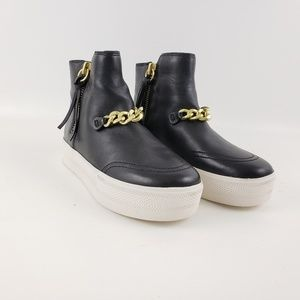 Women's leather gold chain high top